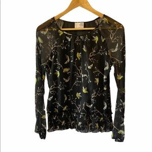 VERO MODA Black Bird Print Loose Fit Blouse XS